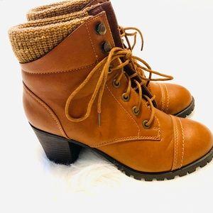 Bamboo heeled combat boot.